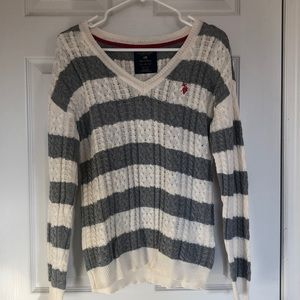 Striped US Polo Assn Cable Knit Sweater